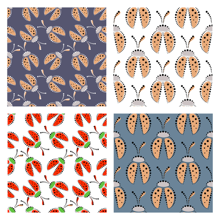 set series: Set of seamless vector patterns with insect, colorful backgrounds with decorative closeup ladybugs and dots. Graphic vector illustration. Series of Animals and Insects Seamless vector Patterns.