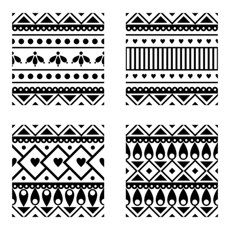 with sets of elements: Set of seamless vector geometric black and white patterns with ornamental elements,endless background with ethnic motifs. Graphic vector illustration. Series- sets of vector seamless patterns.