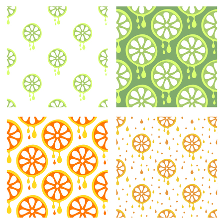 cartoom: Set of seamless vector patterns with fruits. Different colorful backgrounds with lime and orange. Graphic vector illustration Series of Fruits and Vegetables Seamless vector Patterns.