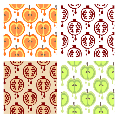 set series: Set of seamless vector patterns with fruits. Different colorful backgrounds with apple and pomegranate. Graphic vector illustration Series of Fruits and Vegetables Seamless vector Patterns.