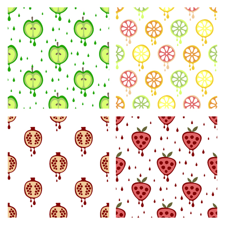 set series: Set of seamless vector patterns with fruits. Different backgrounds with strawberry, apple, orange, pomegranate. Graphic vector illustration Series of Fruits and Vegetables Seamless vector Patterns.