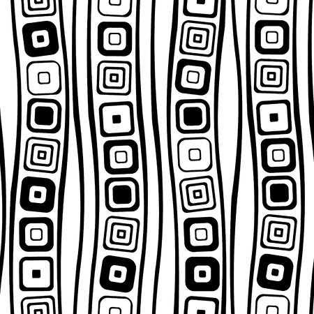 geometrical pattern: Seamless vector geometrical pattern. Endless black and white background with hand drawn squares. Graphic illustration. Template for cover, fabric, wrapping. Illustration