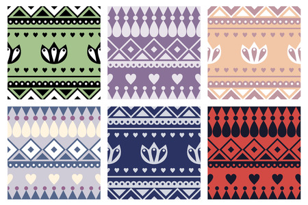 with sets of elements: Set of seamless vector geometric colorful patterns with ornamental elements,endless background with ethnic motifs. Graphic illustration. Series- sets of vector seamless patterns.