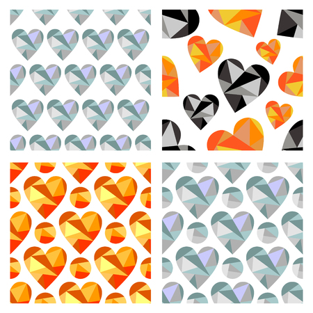 set series: Set of vector seamless patterns with hearts. Polygonal design. Geometric triangular origami style, graphic illustration. Series of Love Seamless vector Patterns. Illustration