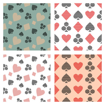 playing card symbols: Set of vector seamless patterns with lined icons, symbol of playing card symbols. Graphic illustration. Decorative repeating ornament. Series of Gaming and Gambling Seamless vector Patterns.