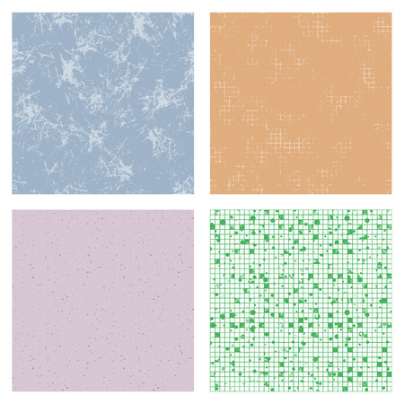 attrition: Set of seamless vector textures. Grunge checkered, dotted, lined backgrounds with attrition, cracks and ambrosia. Old style vintage design.Graphic illustration. Series of Grunge Old Seamless Patterns.