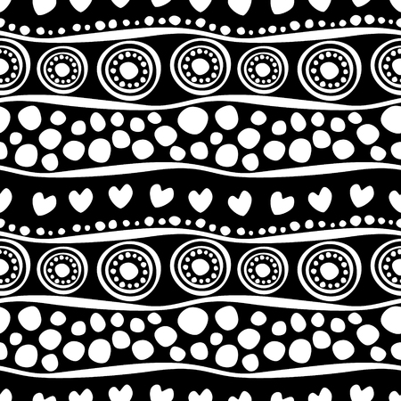 circles pattern: Seamless vector pattern. Black and white hand drawn endless background with ornamental decorative elements with ethnic, traditional motives. Series of Hand Drawn Ornamental Seamless vector Patterns