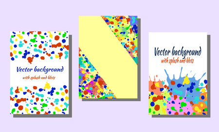 attrition: Set of hand drawn artistic cards. Vector backgrounds for cover. Grunge drawn template with splash, spray, blots, spatter, stain, attrition, cracks. Graphic illustration. A4 format size