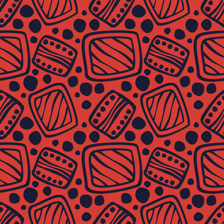 etno: Seamless vector pattern. Red hand drawn endless background with ornamental decorative elements with ethnic, traditional motives. Series of Hand Drawn Ornamental Seamless vector Patterns