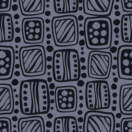 etno: Seamless vector pattern. Blue hand drawn endless background with ornamental decorative elements with ethnic, traditional motives. Series of Hand Drawn Ornamental Seamless vector Patterns