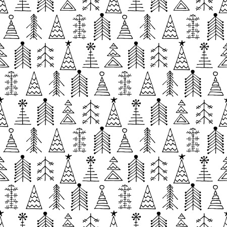 winter snow: Seamless vector pattern with fir-trees. Black and white seasonal winter background with different decorative hand drawn fir tree. Graphic illustration. Series of winter seamless vector patterns.