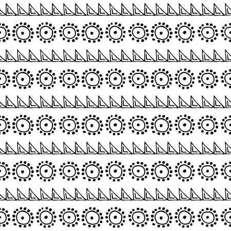 etno: Seamless vector pattern. Black and white geometrical background with hand drawn little decorative elements, flowers, triangles.Print with ethnic, folk, traditional motifs.Graphic vector illustration.