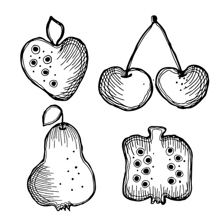 Set of vector illustrations of fruits. Strawberry, cherry, pear and pomegranate isolated on the white background. Hand drawn contour lines and strokes.