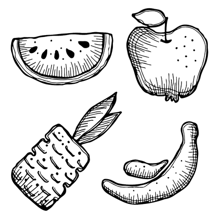 stroking: Set of vector illustrations of fruits. Watermelon, apple, pineapple and banana isolated on the white background. Hand drawn contour lines and strokes.