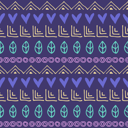 etnic: Seamless vector pattern. Blue geometrical background with hand drawn little decorative elements. Print with ethnic, folk, traditional motifs. Graphic vector illustration. Illustration
