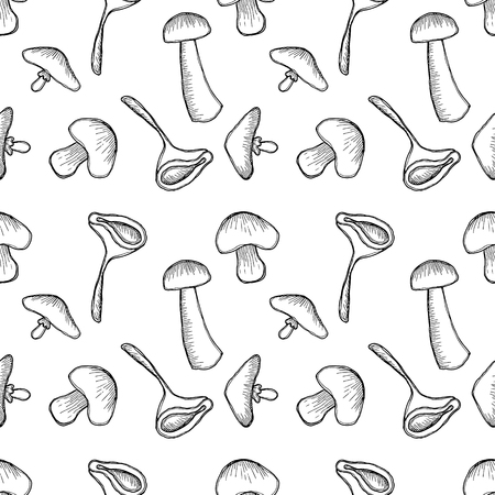 stroking: Vector illustration, Seamless black and white background with different mushrooms. Hand drawn contour lines and strokes. Graphic vector illustration
