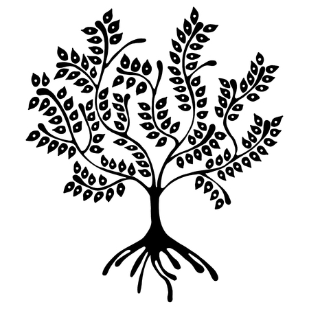 Vector hand drawn illustration, decorative ornamental stylized tree. Black and white graphic illustration isolated on the white background. Inc drawing silhouette. Decorative artistic ornamental wood Illustration