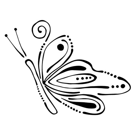 Vector black and white  illustration of insect. Butterfly isolated on the white background. Hand drawn contour lines and strokes. Illustration