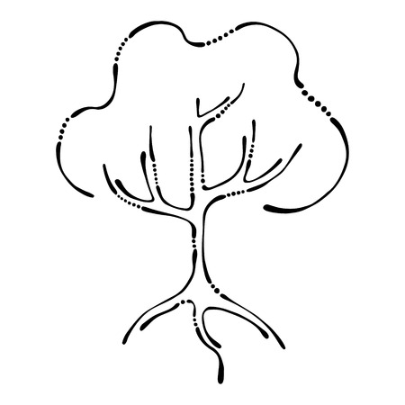shrubs: Vector hand drawn illustration, decorative ornamental stylized tree. Black and white graphic illustration isolated on the white background. Inc drawing silhouette. Decorative artistic ornamental wood Illustration