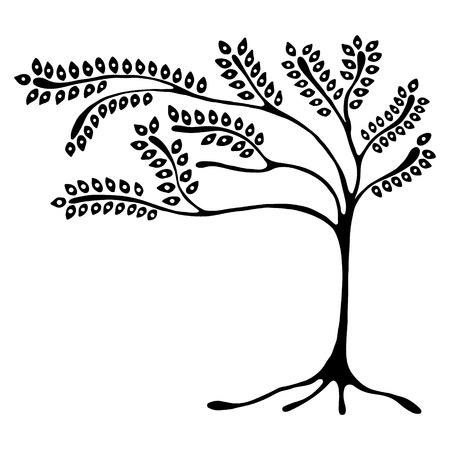 Vector ilustración dibujados a mano, estilizado árbol ornamental decorativa. ilustración gráfica en blanco y negro aislado en el fondo blanco. Inc dibujo de la silueta. madera ornamental artística decorativa Ilustración de vector