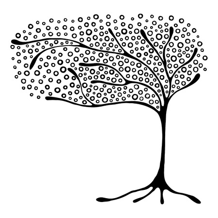 Vector hand drawn illustration, decorative ornamental stylized tree. Black and white graphic illustration isolated on the white background. Inc drawing silhouette. Decorative artistic ornamental wood Illusztráció