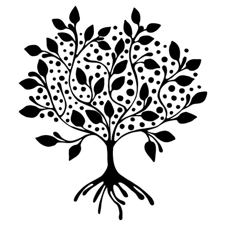 Vector hand drawn illustration, decorative ornamental stylized tree. Black and white graphic illustration isolated on the white background. Inc drawing silhouette. Decorative artistic ornamental wood Çizim