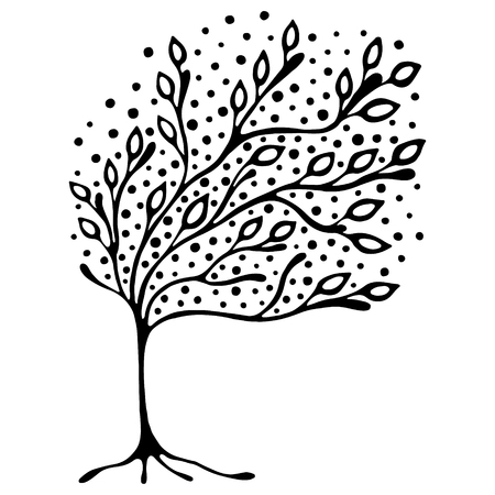 Vector ilustración dibujados a mano, estilizado árbol ornamental decorativa. ilustración gráfica en blanco y negro aislado en el fondo blanco. Inc dibujo de la silueta. madera ornamental artística decorativa