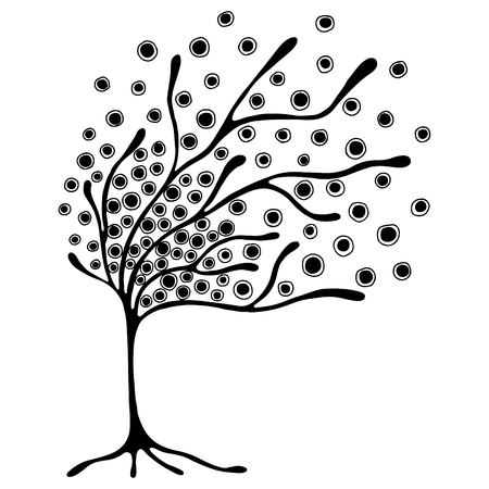 Vector hand drawn illustration, decorative ornamental stylized tree. Black and white graphic illustration isolated on the white background. Inc drawing silhouette. Decorative artistic ornamental wood Vectores