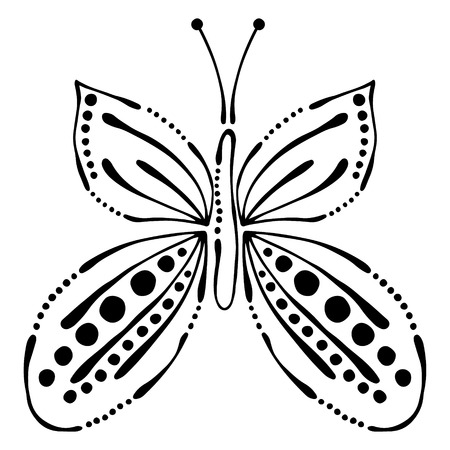 butterfly stroke: Vector black and white  illustration of insect. Butterfly isolated on the white background. Hand drawn contour lines and strokes. Illustration