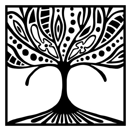 brushwood: Vector hand drawn illustration, decorative ornamental stylized tree. Black and white graphic illustration isolated on the white background. Inc drawing silhouette. Decorative artistic ornamental wood Illustration