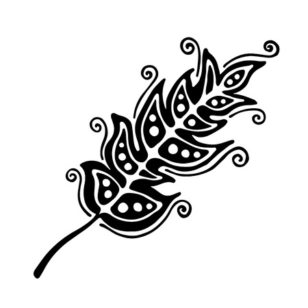 feathering: Vector hand drawn illustration, decorative ornamental stylized feather. Black and white graphic illustration isolated on the white background. Inc drawing silhouette.