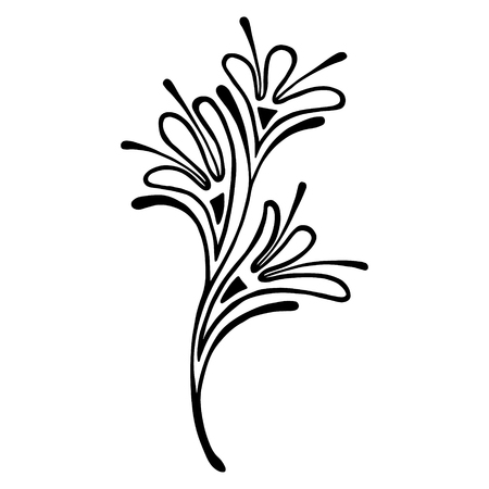 Vector hand drawn illustration, decorative ornamental stylized tree. Black and white graphic illustration isolated on the white background. Inc drawing silhouette Decorative artistic ornamental branch Illustration