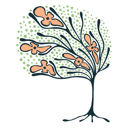 Vector hand drawn illustration, decorative ornamental stylized tree.  Colorful graphic illustration isolated on the white background. Inc drawing silhouette. Decorative artistic ornamental wood Illustration