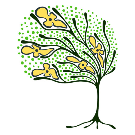brushwood: Vector hand drawn illustration, decorative ornamental stylized tree.  Green graphic illustration isolated on the white background. Inc drawing silhouette. Decorative artistic ornamental wood