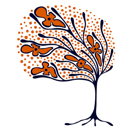 Vector hand drawn illustration, decorative ornamental stylized tree. Red and blue graphic illustration isolated on the white background. Inc drawing silhouette. Decorative artistic ornamental wood