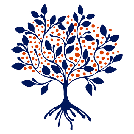 Vector hand drawn illustration, decorative ornamental stylized tree.  Blue and red graphic illustration isolated on the white background. Inc drawing silhouette. Decorative artistic ornamental wood
