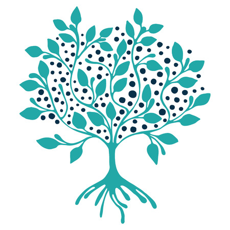 Vector hand drawn illustration, decorative ornamental stylized tree.  Blue graphic illustration isolated on the white background. Inc drawing silhouette. Decorative artistic ornamental wood Illustration