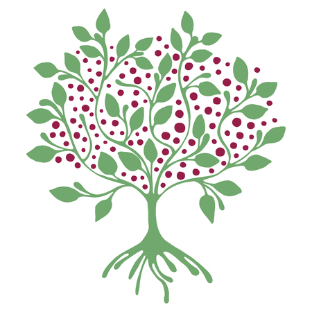 Vector hand drawn illustration, decorative ornamental stylized tree.  Green graphic illustration isolated on the white background. Inc drawing silhouette. Decorative artistic ornamental wood