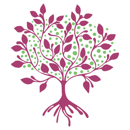 Vector hand drawn illustration, decorative ornamental stylized tree.  Pink graphic illustration isolated on the white background. Inc drawing silhouette. Decorative artistic ornamental wood