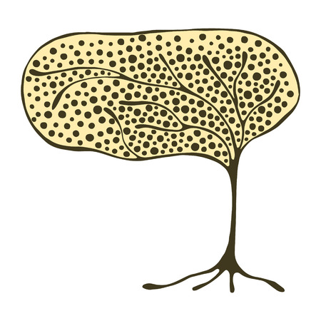 Vector hand drawn illustration, decorative ornamental stylized tree.  Yellow graphic illustration isolated on the white background. Inc drawing silhouette. Decorative artistic ornamental wood