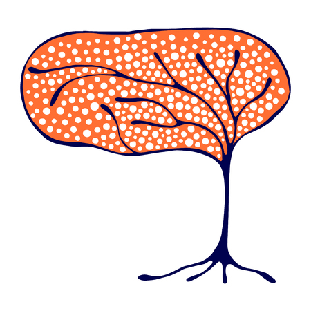 brushwood: Vector hand drawn illustration, decorative ornamental stylized tree. Red  graphic illustration isolated on the white background. Inc drawing silhouette. Decorative artistic ornamental wood Illustration