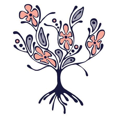 scrubs: Vector hand drawn illustration, decorative ornamental stylized tree. Pink and blue graphic illustration isolated on the white background. Inc drawing silhouette. Decorative artistic ornamental wood