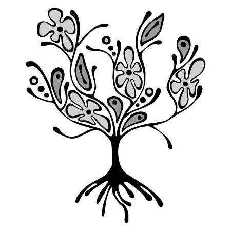 scrubs: Vector hand drawn illustration, decorative ornamental stylized tree. Grey graphic illustration isolated on the white background. Inc drawing silhouette. Decorative artistic ornamental wood