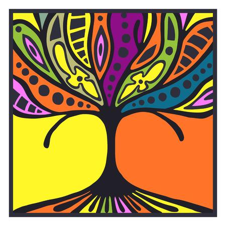 Vector Hand gezeichnete Illustration, dekorative Zier stilisierten Baum. Künstlerische Hintergrund mit Rahmen und Grenze in Regenbogenfarben. Grafische Darstellung. Dekorative Vektor künstlerischen Zierholz