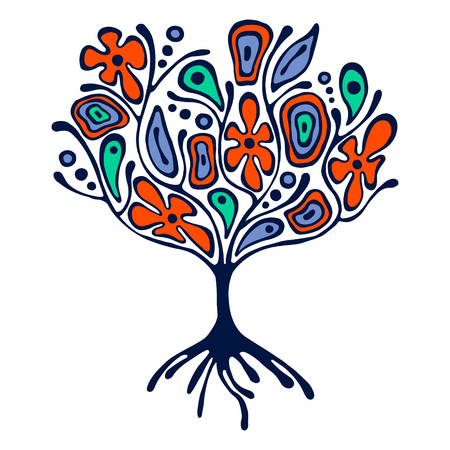 Vector ilustración dibujados a mano, estilizado árbol ornamental decorativa. Colorida ilustración gráfica aislados en el fondo blanco. Inc dibujo de la silueta. madera ornamental artística decorativa