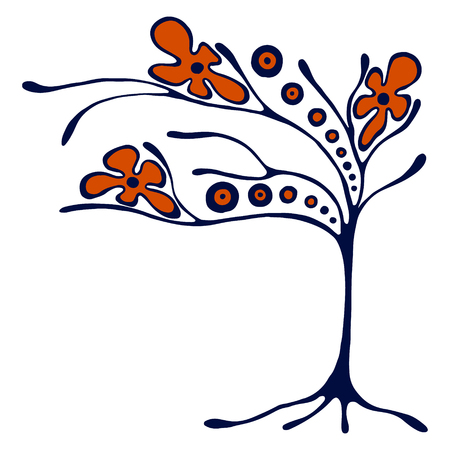 vectro: Vector hand drawn illustration, decorative ornamental stylized tree. Hand drawing colorful artistic silhouette. Graphic vector illustration. Decorative artistic ornamental wood