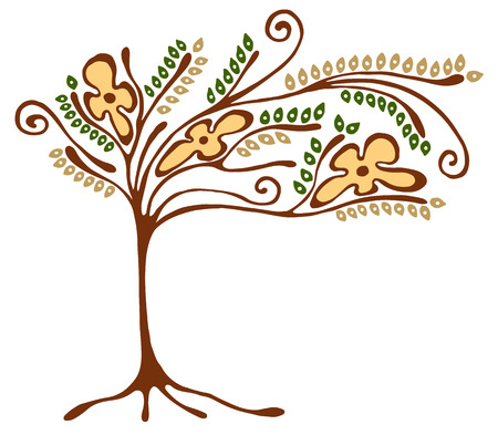 scrubs: Vector hand drawn illustration, decorative ornamental stylized tree. Hand drawing colorful artistic silhouette. Graphic vector illustration. Decorative artistic ornamental wood