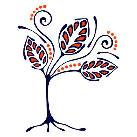 Vector hand getrokken illustratie, decoratieve sier gestileerde boom. Hand tekening kleurrijke artistieke silhouet. Grafische vectorillustratie. Decoratieve houten artistieke sier
