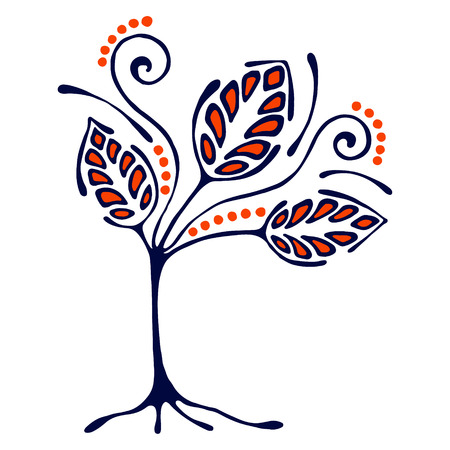 Vector ilustración dibujados a mano, estilizado árbol ornamental decorativa. Dibujo a mano silueta artística colorida. ejemplo gráfico del vector. madera ornamental artística decorativa Ilustración de vector