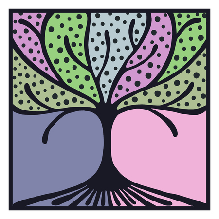 vectro: Vector hand drawn illustration, decorative ornamental stylized tree. Hand drawing colorful artistic silhouette with frame and border. Graphic vector illustration. Decorative artistic ornamental wood Illustration